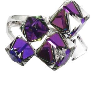 Square candy crystal silver purple ring